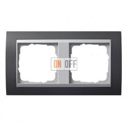 Рамка двойная, для гориз./вертик. монтажа, Gira Event черный/алюминий 021281