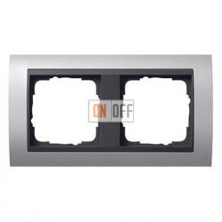 Рамка двойная, для гориз./вертик. монтажа, Gira Event алюминий-антрацит 021206