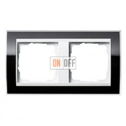 Рамка двойная, для гориз./вертик. монтажа Gira Event Clear черный-белый глянец 0212733