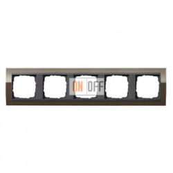 Рамка пятерная, для гориз./вертик. монтажа Gira Event Clear коричневый-антрацит 0215768