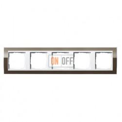 Рамка пятерная, для гориз./вертик. монтажа Gira Event Clear коричневый-белый глянец 0215763