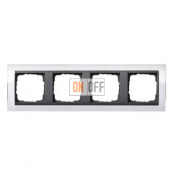 Рамка четверная, для гориз./вертик. монтажа Gira Event Clear белый-антрацит 0214728