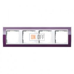Рамка четверная, для гориз./вертик. монтажа Gira Event Clear темно-фиолетовый-белый глянец 0214753