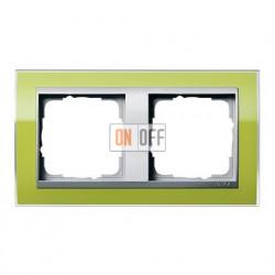 Рамка двойная, для гориз./вертик. монтажа Gira Event Clear зеленый-алюминий 0212746