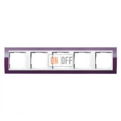 Рамка пятерная, для гориз./вертик. монтажа Gira Event Clear темно-фиолетовый-белый глянец 0215753