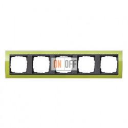 Рамка пятерная, для гориз./вертик. монтажа Gira Event Clear зеленый-антрацит 0215748
