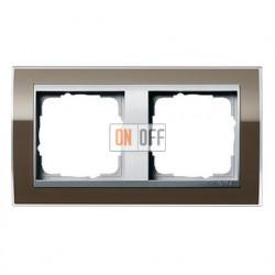 Рамка двойная, для гориз./вертик. монтажа Gira Event Clear коричневый-алюминий 0212766