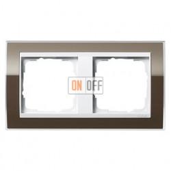 Рамка двойная, для гориз./вертик. монтажа Gira Event Clear коричневый-белый глянец 0212763