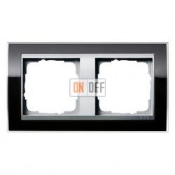 Рамка двойная, для гориз./вертик. монтажа Gira Event Clear черный-алюминий 0212736