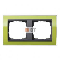 Рамка двойная, для гориз./вертик. монтажа Gira Event Clear зеленый-антрацит 0212748