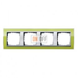 Рамка четверная, для гориз./вертик. монтажа Gira Event Clear  зеленый-алюминий 0214746