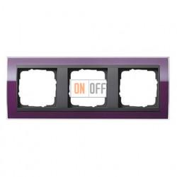 Рамка тройная, для гориз./вертик. монтажа Gira Event Clear темно-фиолетовый-антрацит 0213758
