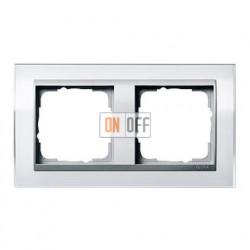 Рамка двойная, для гориз./вертик. монтажа Gira Event Clear белый-алюминий 0212726