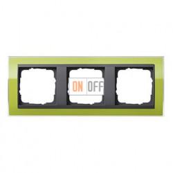 Рамка тройная, для гориз./вертик. монтажа Gira Event Clear зеленый-антрацит 0213748