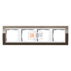 Рамка четверная, для гориз./вертик. монтажа Gira Event Clear коричневый-белый глянец 0214763