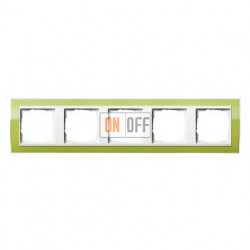 Рамка пятерная, для гориз./вертик. монтажа Gira Event Clear зеленый-белый глянец 0215743