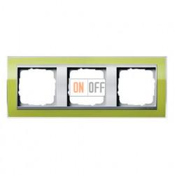 Рамка тройная, для гориз./вертик. монтажа Gira Event Clear  зеленый-алюминий 0213746
