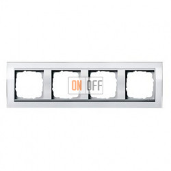 Рамка четверная, для гориз./вертик. монтажа Gira Event Clear белый-алюминий 0214726