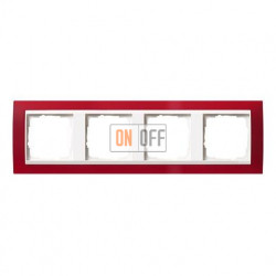 Рамка четверная Gira Event Opaque матово-красный/глянц.белый 0214398