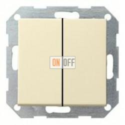 Выключатель двухклавишный, проходной (вкл/выкл с 2-х мест) 10 А / 250 В~ 010800 - 029501