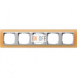 Рамка пятерная Gira Event Opaque матово-оранжевый/алюминий 021553
