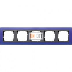 Рамка пятерная Gira Event Opaque матово-синий/антрацит 021589