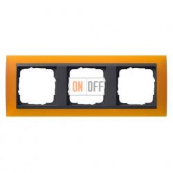 Рамка тройная Gira Event Opaque матово-янтарный/антрацит 021314