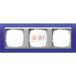 Рамка тройная Gira Event Opaque матово-синий/алюминий 021393