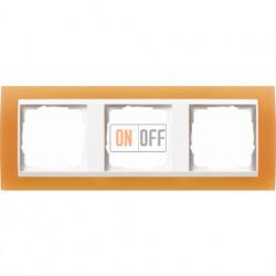 Рамка тройная Gira Event Opaque  матово-оранжевый/бел. Глянец 0213397