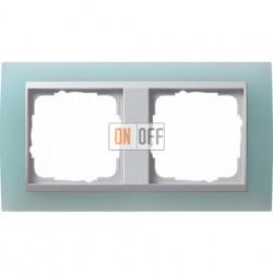 Рамка двойная Gira Event Opaque салатовый/алюминий 021251