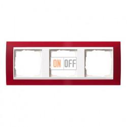 Рамка тройная Gira Event Opaque матово-красный/глянц.белый 0213398