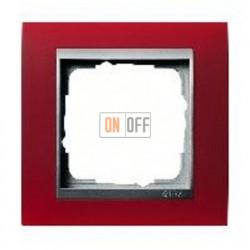 Рамка одинарная Gira Event Opaque матово-красный/алюминий 021192