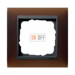 Рамка одинарная Gira Event Opaque матово-коричневый/антрацит 021113