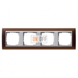 Рамка четверная Gira Event Opaque матово-коричневый/алюминий 021459