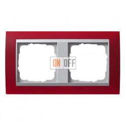 Рамка двойная Gira Event Opaque матово-красный/алюминий 021292