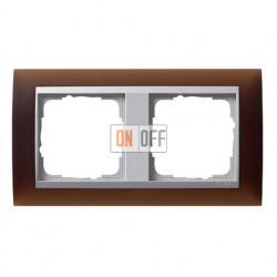 Рамка двойная Gira Event Opaque матово-коричневый/алюминий 021259