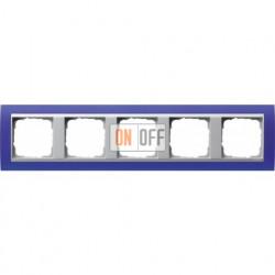Рамка пятерная Gira Event Opaque матово-синий/алюминий 021593