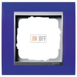 Рамка одинарная Gira Event Opaque матово-синий/алюминий 021193