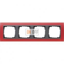 Рамка четверная Gira Event Opaque матово-красный/антрацит 021488