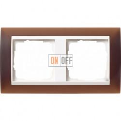 Рамка двойная Gira Event Opaque матово-коричневый/бел. Глянец 0212331