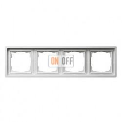 Рамка четверная, для гориз./вертик. монтажа Gira F100 белый глянцевый 0214112