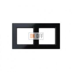 Рамка двойная, для горизон./вертик. монтажа Jung A Creation, черный глянцевый AC582SW