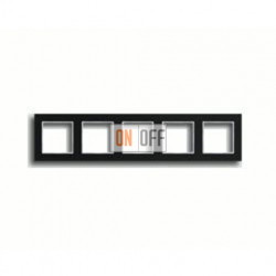 Рамка пятерная, для горизон./вертик. монтажа Jung A Creation, черное стекло AC585GLSW
