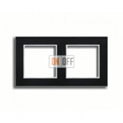 Рамка двойная, для горизон./вертик. монтажа Jung A Creation, черное стекло AC582GLSW