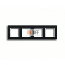 Рамка четверная, для горизон./вертик. монтажа Jung A Creation, черное стекло AC584GLSW