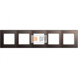 Рамка пятерная, для горизон./вертик. монтажа Jung A Creation, мокко стекло AC585GLMO