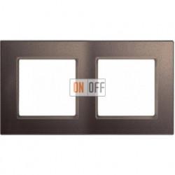 Рамка двойная, для горизон./вертик. монтажа Jung A Creation, мокко стекло AC582GLMO