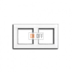 Рамка двойная, для горизон./вертик. монтажа Jung A Creation, белое стекло AC582GLWW