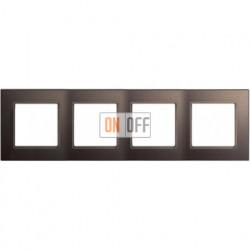 Рамка четверная, для горизон./вертик. монтажа Jung A Creation, мокко стекло AC584GLMO