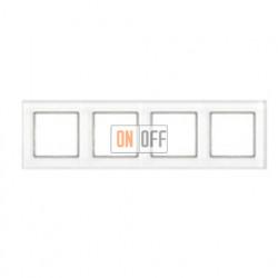 Рамка четверная, для горизон./вертик. монтажа Jung A Creation, белое стекло AC584GLWW